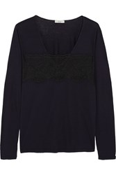 Clu Lace Trimmed Cotton And Modal Blend Jersey Top Blue