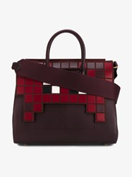 Anya Hindmarch Ephson Soft Invaders Leather Tote Burgundy Red White Black Leopard