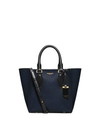 Gracie Small Colorblock Calf Tote Bag Navy Black Michael Kors Collection