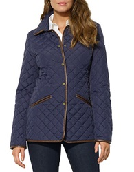 Lauren Ralph Lauren Quilted Faux Leather Trim Blazer Blue