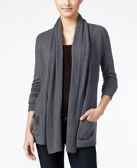 Karen Scott Petite Open Front Cable Knit Cardigan Only At Macy's Charcoal Heather