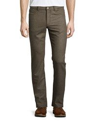 Luciano Barbera Wool Blend Straight Leg Trousers Olive