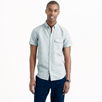 J.Crew Short Sleeve Shirt In End On End Cotton Linen