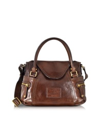 The Bridge Icons Gaucho Small Leather Satchel W Shoulder Strap Dark Brown