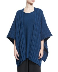 Eskandar Sideways Knit Wool Sweater Teal Blue