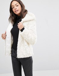 New Look Faux Fur Shearling Hooded Jacket Cream