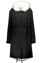 Ainea Faux Fur Trimmed Satin Hooded Coat Black