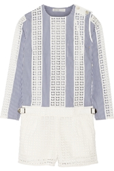 Sacai Luck Paneled Pinstriped And Eyelet Cotton Playsuit