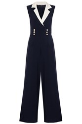 Quiz Navy Contrast Lapel Jumpsuit