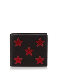 Saint Laurent Star Applique Bi Fold Leather Wallet Black Multi