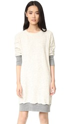 Monrow Double Layer Sweater Dress Oatmeal Dark Heather