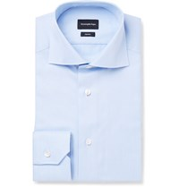Ermenegildo Zegna Blue Slim Fit Cutaway Collar Trofeo Cotton Shirt Blue