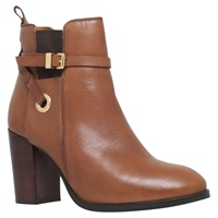 Carvela Stacey Buckle Strap Ankle Boots Tan Leather