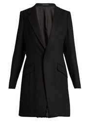 Yohji Yamamoto Single Breasted Pleated Back Wool Jacket Black