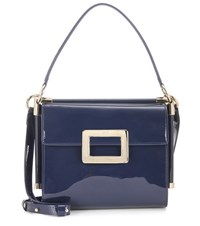 Roger Vivier Miss Viv' Carre Small Patent Leather Shoulder Bag Blue