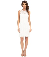 Donna Morgan Harlow Illusion Neck Lace Short Dress Ivory Women's Dress White