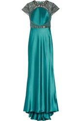 Catherine Deane Elle Embellished Tulle And Satin Gown Turquoise