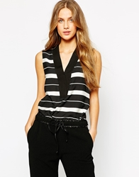 Mango Stripe Sleeveless Blouse Multi