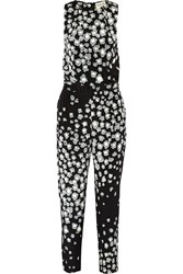 Sea Leo Printed Stretch Silk Jumpsuit Black