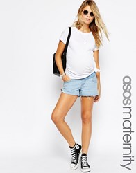 Asos Maternity Denim Side Split Shorts In Carnation Wash Light Wash