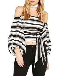 Bardot Striped Off The Shoulder Blouse White Black