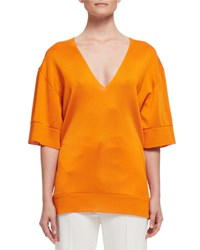 V Neck Half Sleeve Knit Tunic Sole Orange
