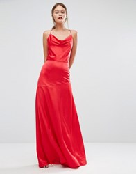 Jarlo Cowl Neck Strappy Back Dress Red