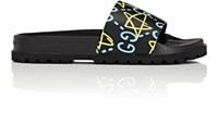 Men's Guccighost Print Slide Sandals Black Blue Yellow Black Blue Yellow