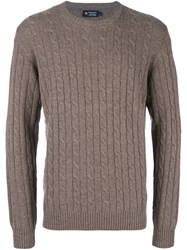 Hackett Cable Knit Jumper Brown
