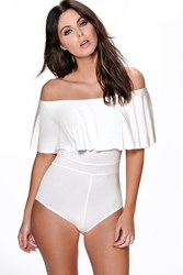Boohoo Off The Shoulder Ruffle Bodysuit Ivory