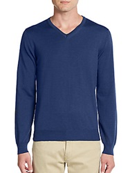 Saks Fifth Avenue Merino Wool V Neck Sweater Cosmos