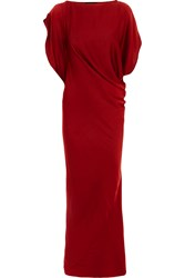 Maria Grachvogel Hawk Draped Silk Satin Gown Red