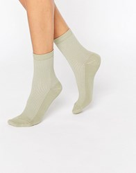 Asos Plain Rib Ankle Socks Green