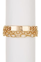 14Th And Union 3 Row Stacked Id Bracelet Metallic