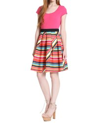 Plenty By Tracy Reese Striped Pleated A Line Dress Variegated Pink