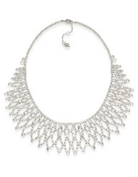 Carolee Crystal Stems Glitz Collar Necklace Silver