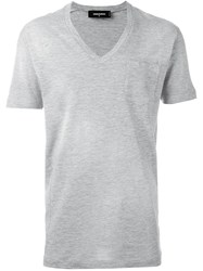 Dsquared2 V Neck T Shirt Grey