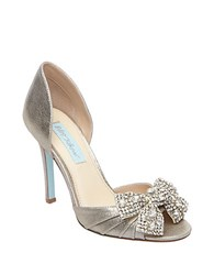 Betsey Johnson Gown Satin Pumps Silver