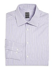 Ike Behar Striped Dress Shirt Plum