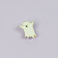 Black Or White Cute Ghost Enamel Pin With Clutch Back By Punkypins
