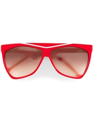 Laura Biagiotti Vintage Angled Cat Eye Frame Sunglasses Red