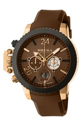 Brera 'Militare Ii' Round Chronograph Watch 48Mm Brown Rose Gold