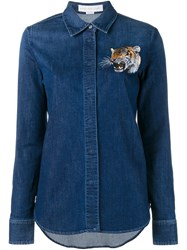 Stella Mccartney Tiger Embroidered Denim Shirt Blue