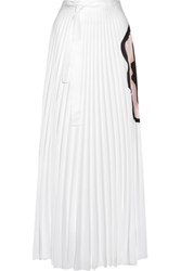 Issa Felicity Pleated Printed Georgette Maxi Skirt White