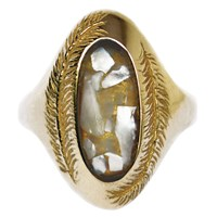 Stefanie Sheehan Jewelry Paradise Ring With Inlay Stoneyellow Brass 7 Mother Of Pearl