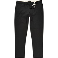River Island Mens Black Stretch Skinny Crop Trousers