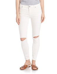 Free People Distressed Skinny Jeans Stark White