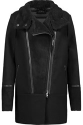 Mackage Suede And Leather Trimmed Wool Blend And Quilted Shell Down Coat Black