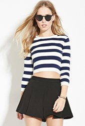 Forever 21 Stripe Cropped Sweater Navy Cream