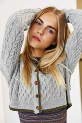 Bdg Tipped Cropped Cable Cardigan Grey Multi